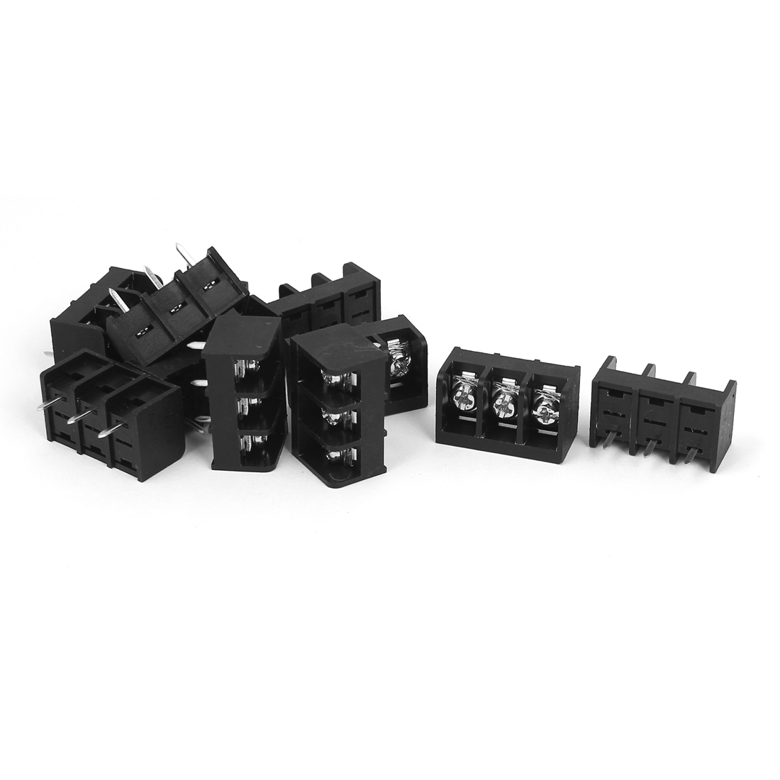 300V 25A 3 Positions 8mm Pitch PCB Mount Screw Terminal Block Connector 11Pcs