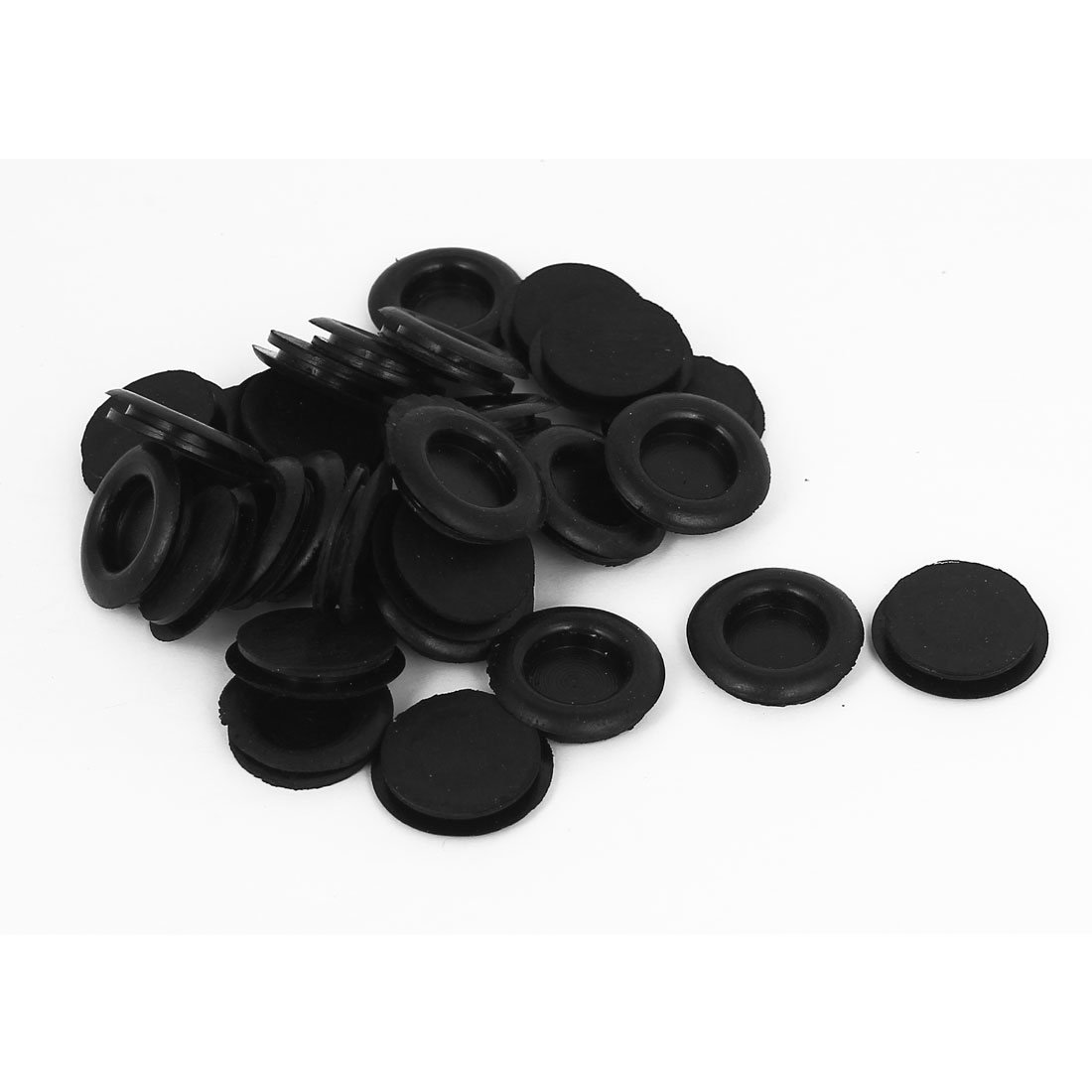 30pcs Black Rubber Closed Blind Blanking Hole Wire Cable Gasket Grommets 18mm