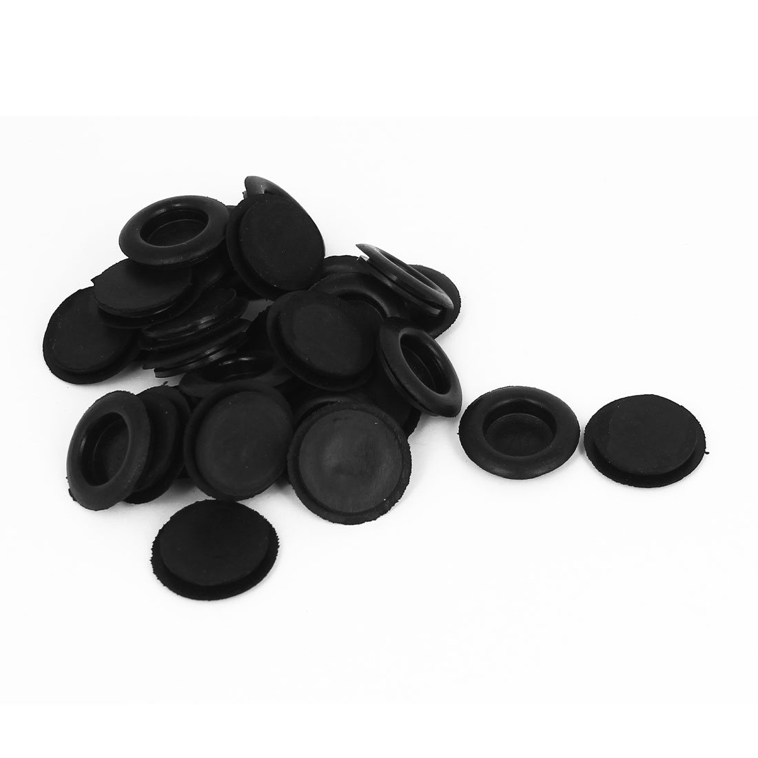 30pcs Black Rubber Closed Blind Blanking Hole Wire Cable Gasket Grommets 20mm