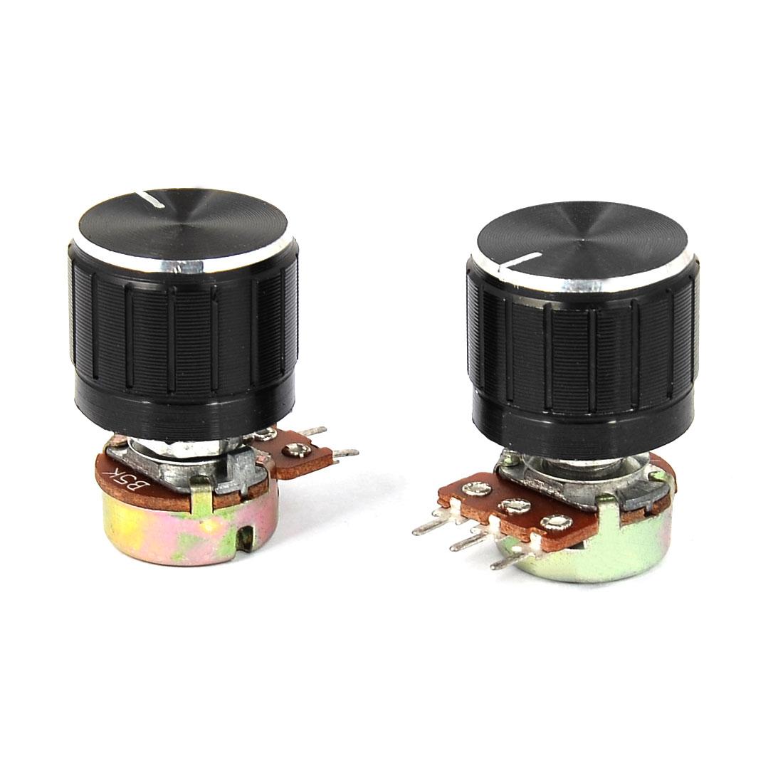 B5K 5K Ohm Rotating Shaft Metal Audio Single Linear Potentiometer 2pcs