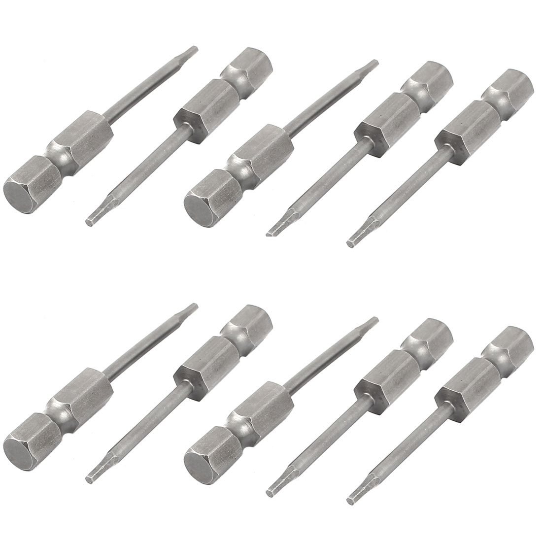 "1/4"" Hex Shank 50mm Long 1.5mm Tip Magnetic Hexagon Screwdriver Bit 10pcs"