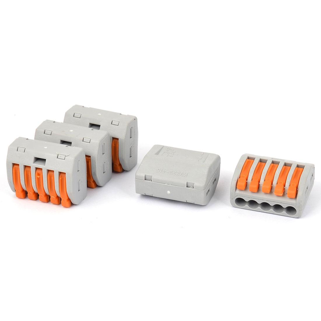 AC 250V 0.75-2.5mm2 5 way 5 Port Lever Terminal Block 5pcs