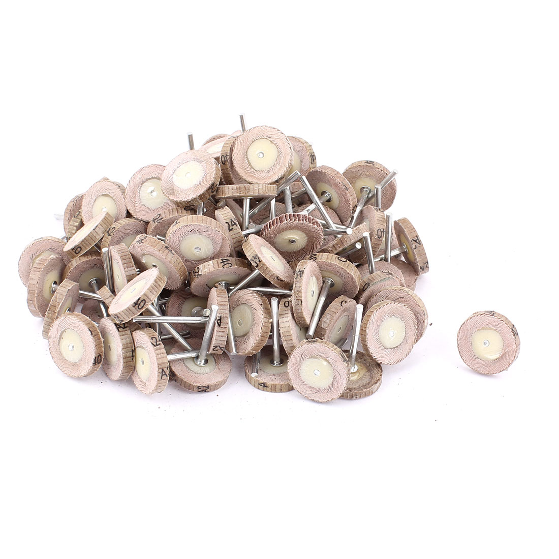 25mmx3mm T Shape Rotary Poishing Emery Cloth Wheel 100pcs w Handles