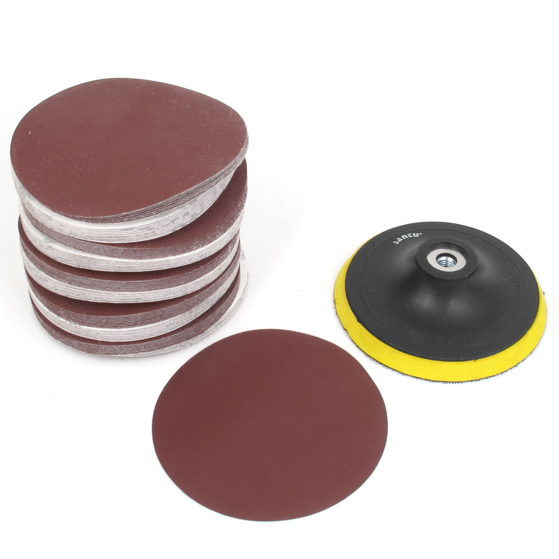 "9mm Thread 5"" Dia Sanding Disc Wheel w 100pcs 5"" Sandpapers"