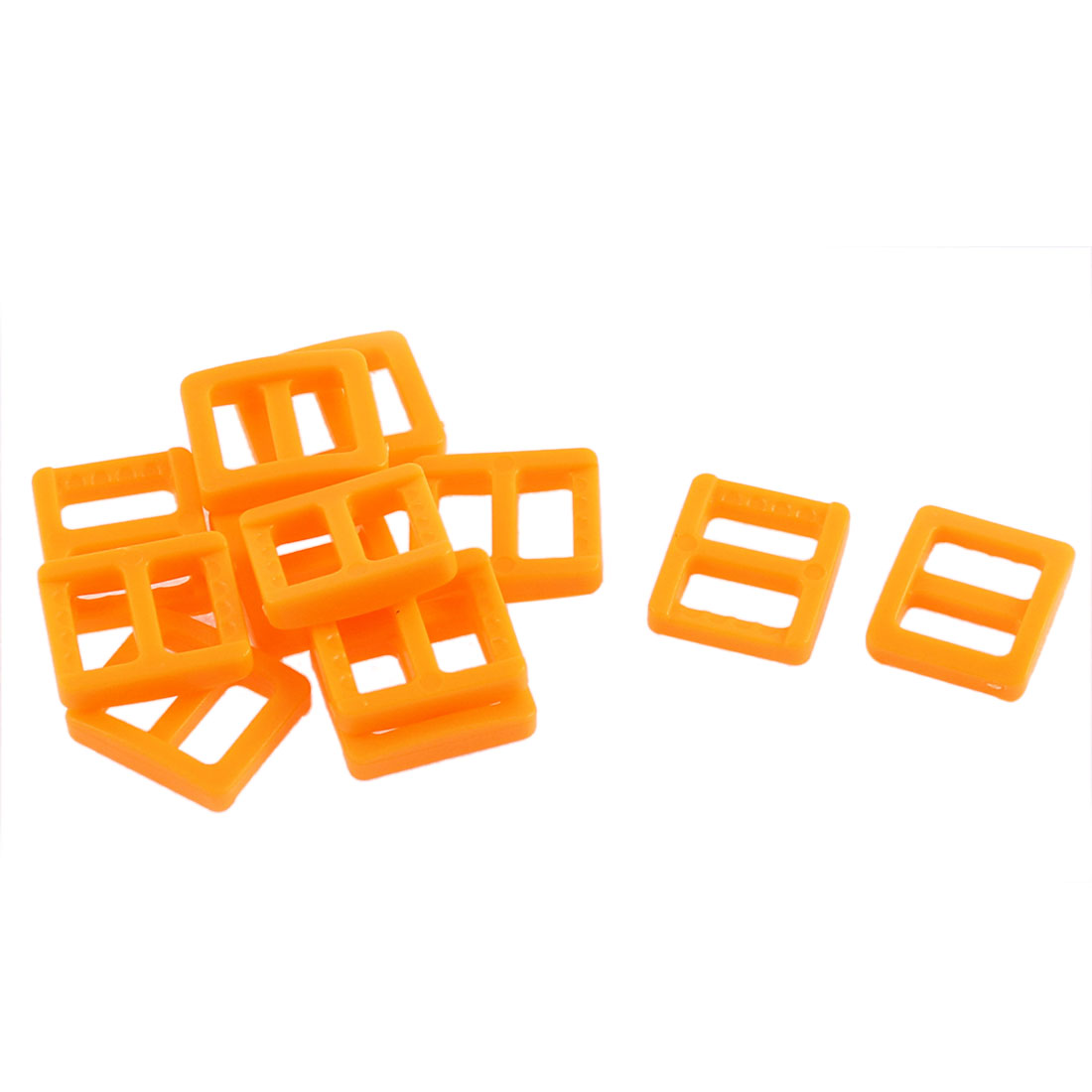 Webbing Bag Plastic Replacement Tri Glide Buckle Strap Keeper Orange 12 Pcs