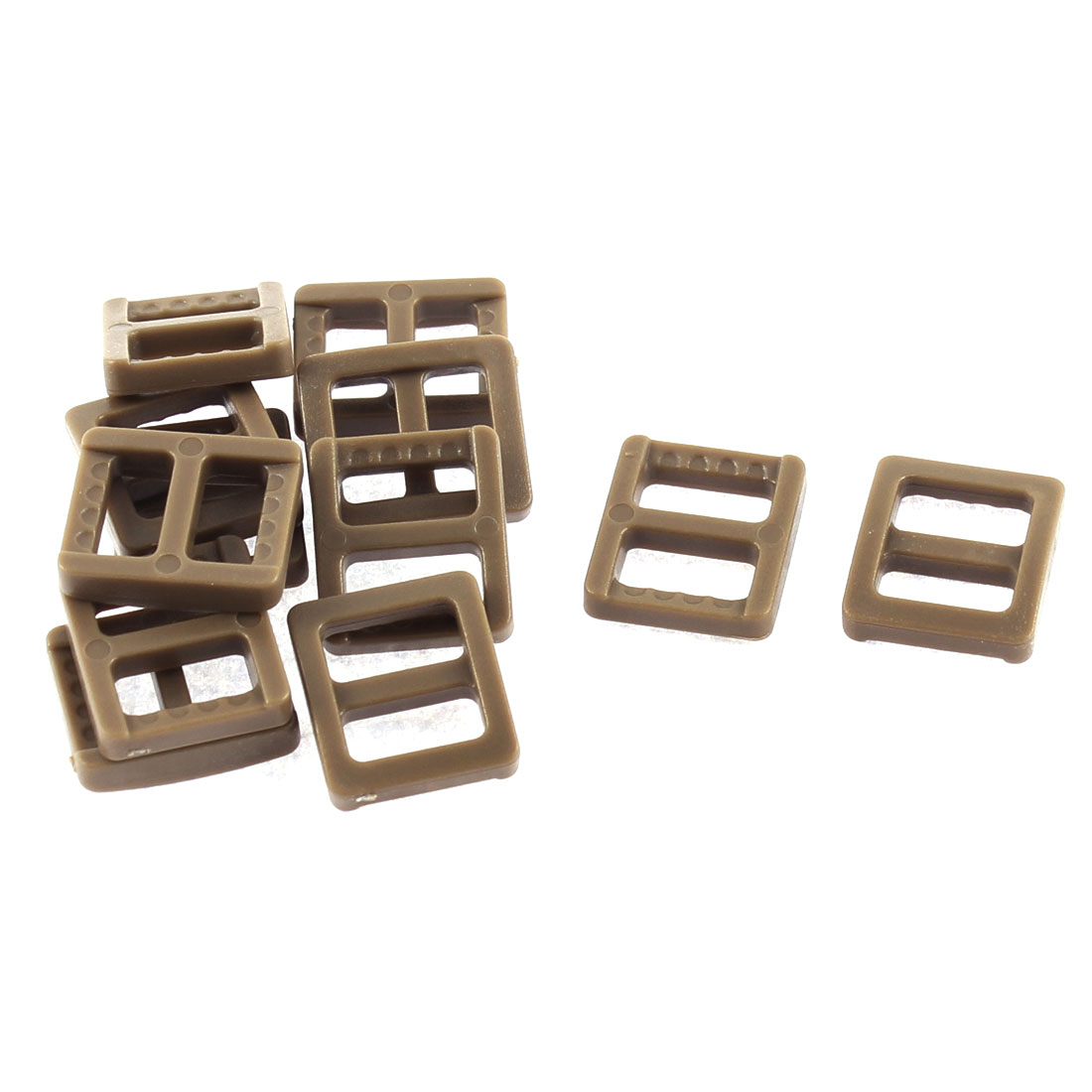 Webbing Bag Plastic Replacement Tri Glide Buckle Strap Keeper Coffee Color 12 Pcs