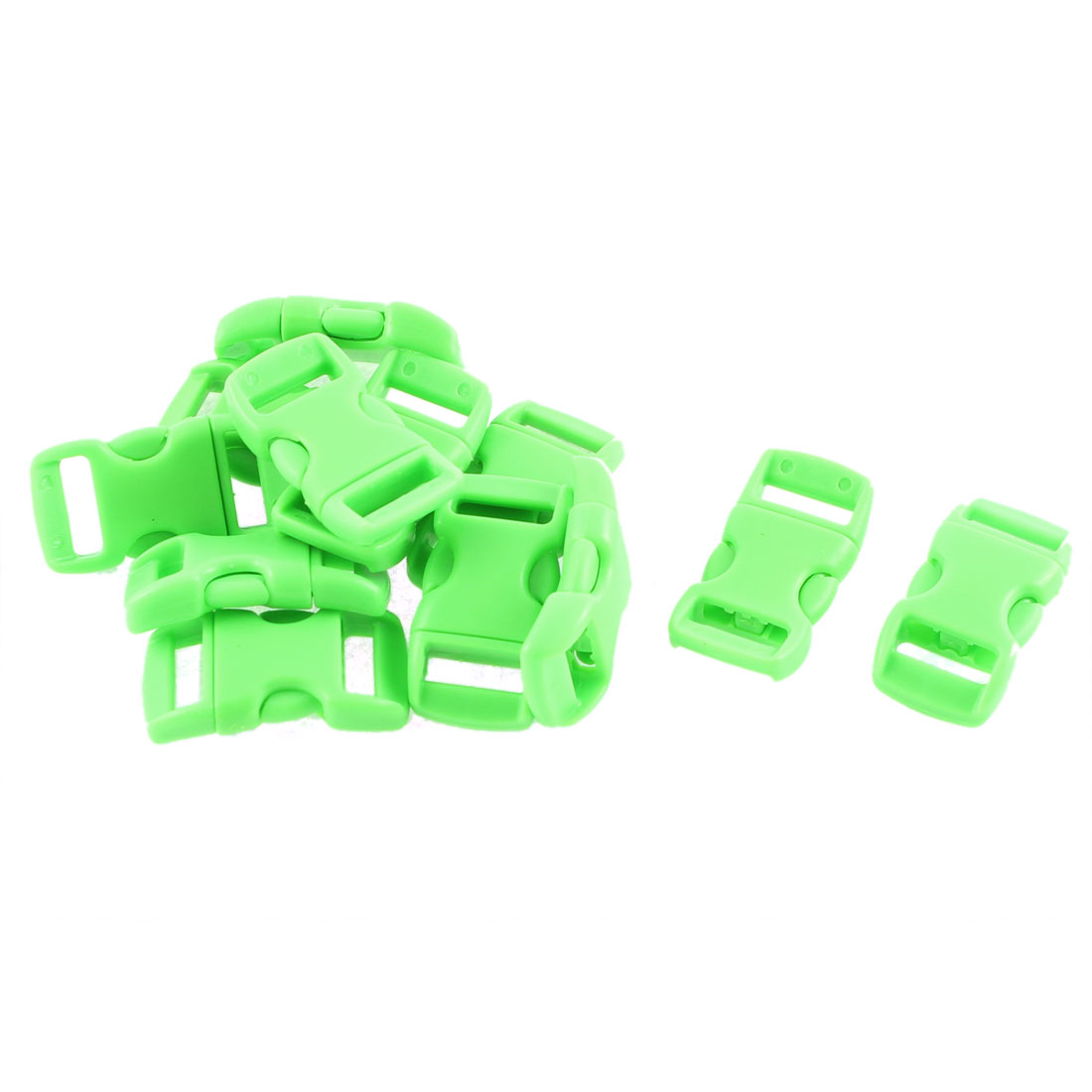 Webbing Strap Backpack Plastic Side Release Buckle Green 11mm Width Band 12pcs