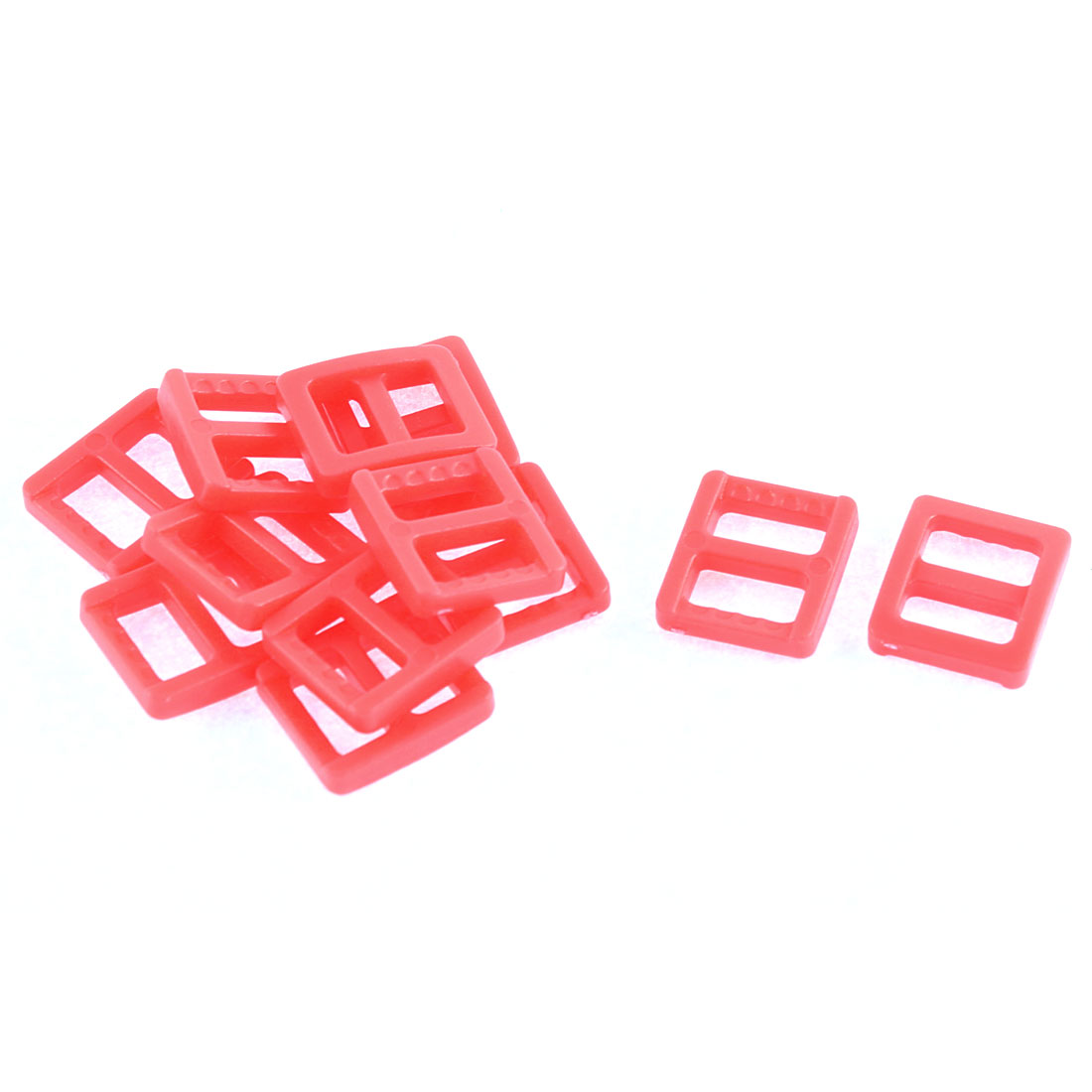 Webbing Bag Plastic Replacement Tri Glide Buckle Strap Keeper Coral Pink 12 Pcs