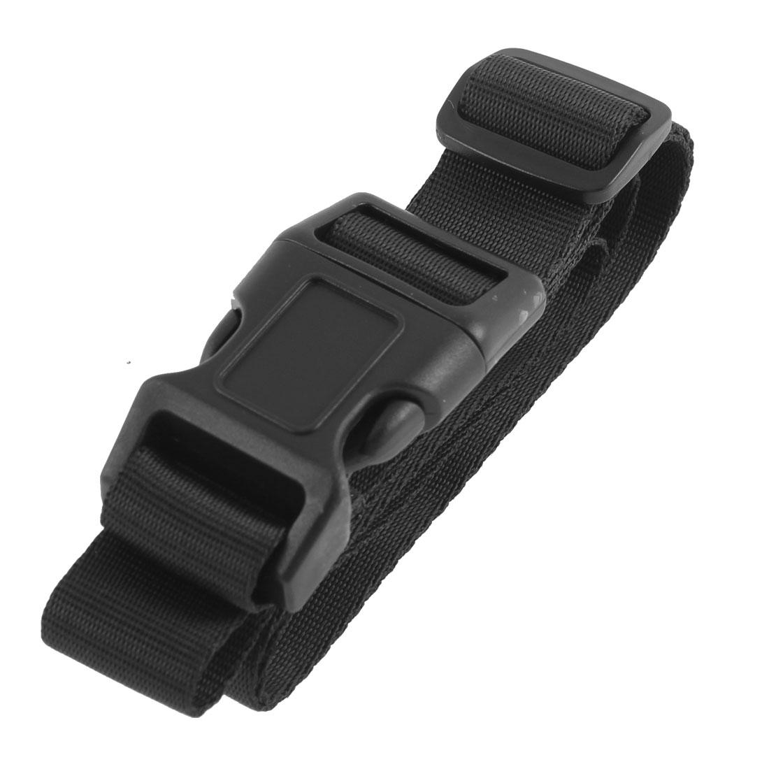 Polypropylene Adjustable Travel Luggage Suitcase Strap Belt Release Buckle Black 1m