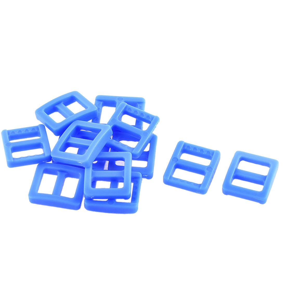 Webbing Bag Plastic Replacement Tri Glide Buckle Strap Keeper Blue 12 Pcs