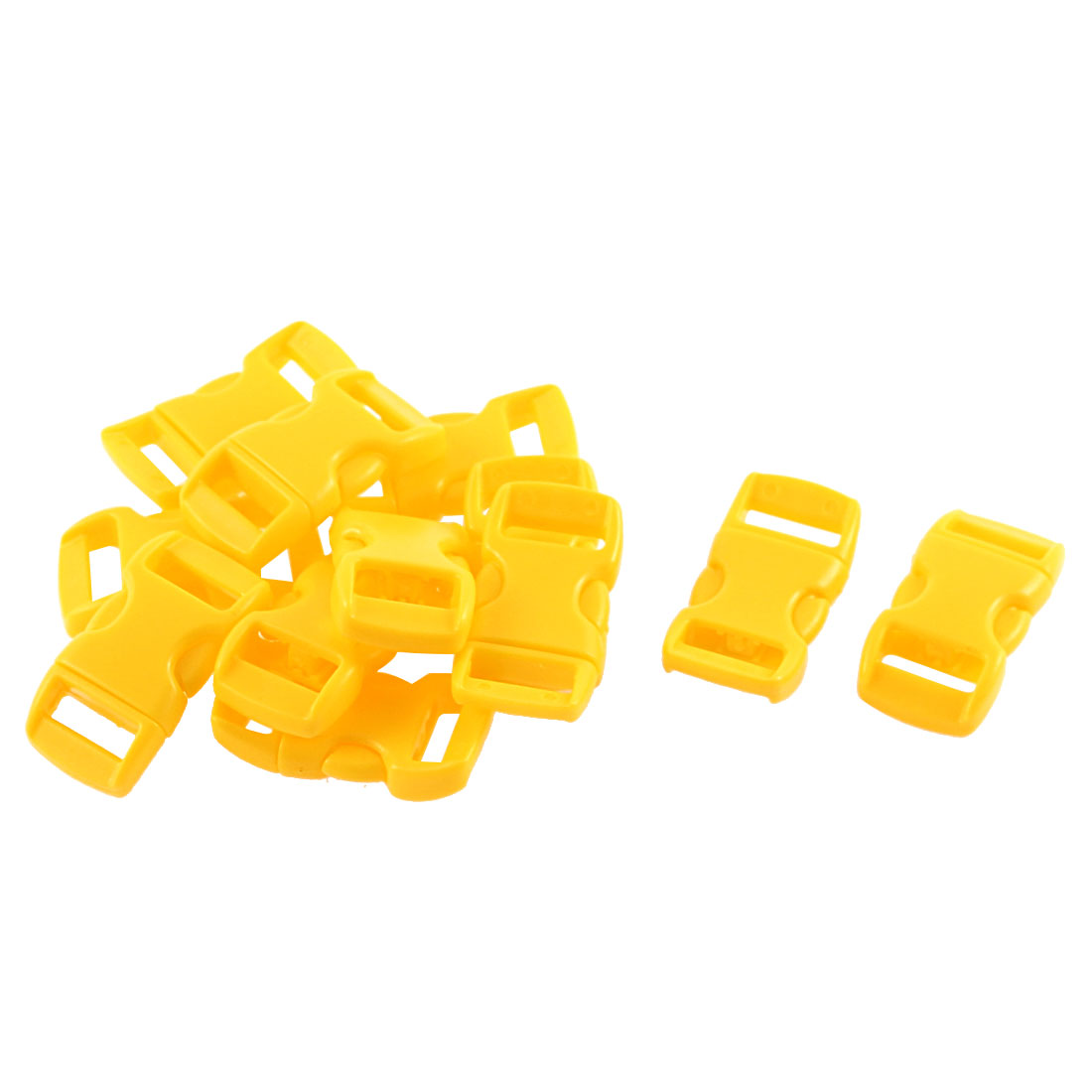 Webbing Strap Backpack Plastic Side Release Buckle Yellow 11mm Band 12pcs