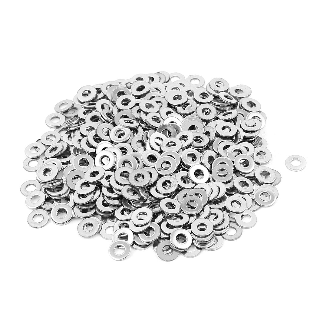 500pcs 304 Stainless Steel M3 Flat Washers Fasteners Silver Tone