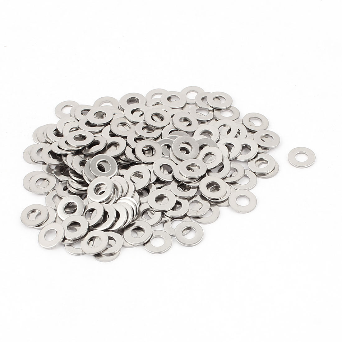 200pcs 304 Stainless Steel Plain Finish M4 Flat Washer Spacers Silver Tone