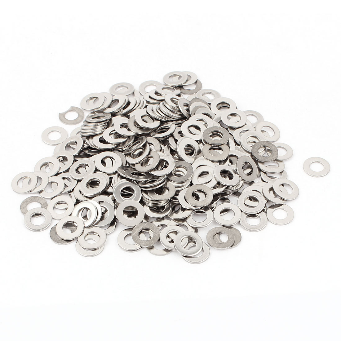 300pcs Stainless Steel Flat Washers M5 x 10mm OD Silver Tone