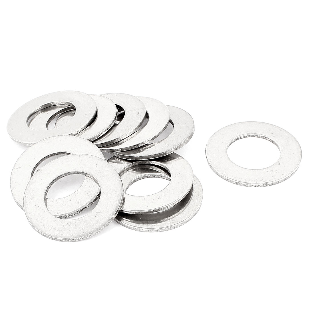 M24 24mm Inner Dia 304 Stainless Steel Plain Finish Flat Washer 10pcs