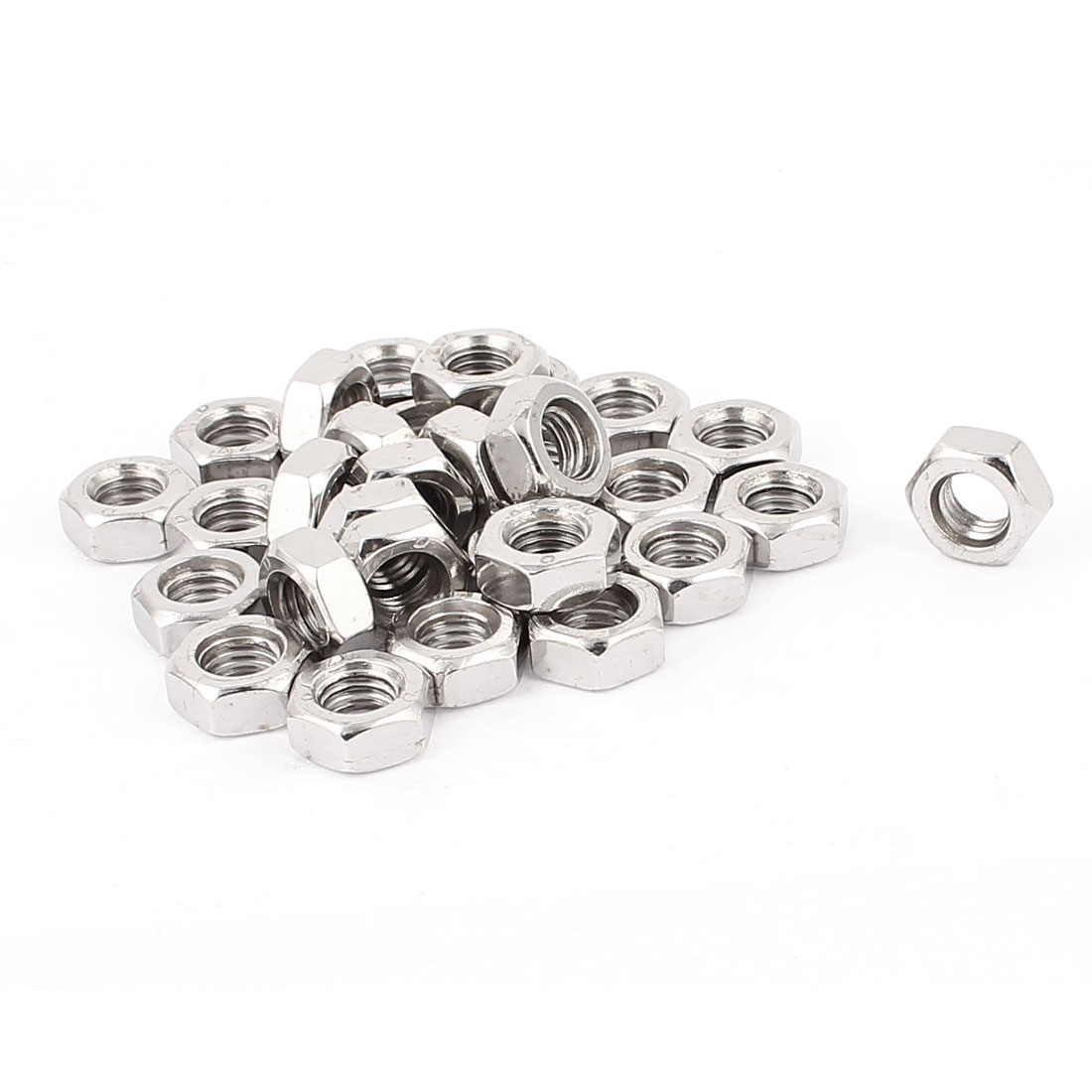 30pcs 304 Stainless Steel M10 Thread Hex Machine Screw Nut Silver Tone