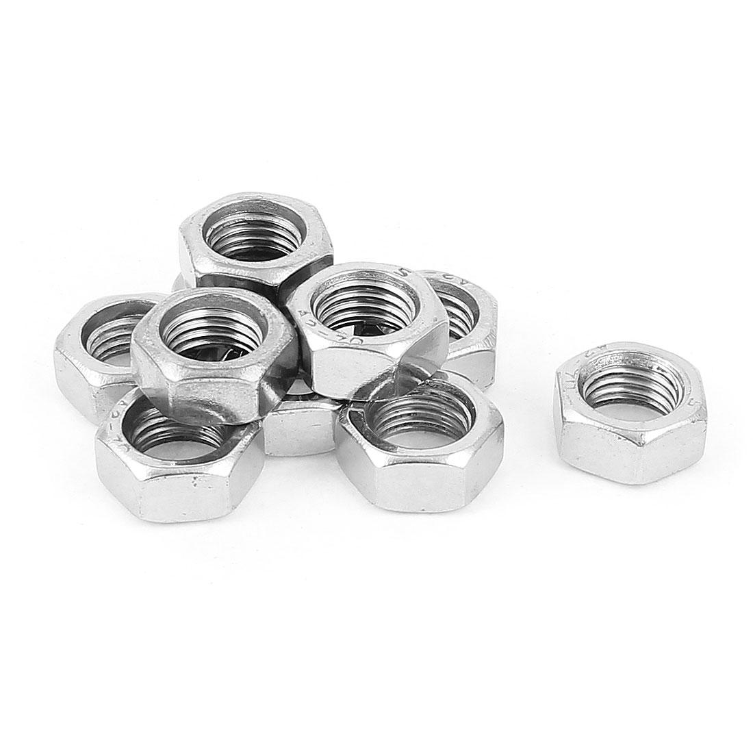 Machine Screw Stainless Steel M16 Thread Hex Lock Nut Silver Tone 10pcs