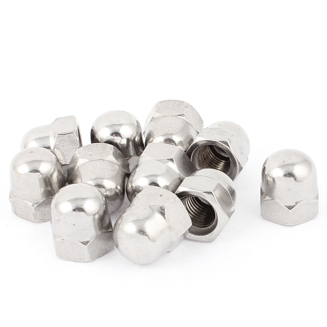 10pcs 304 Stainless Steel M16 Round Acorn Head Cap Nut Silver Tone