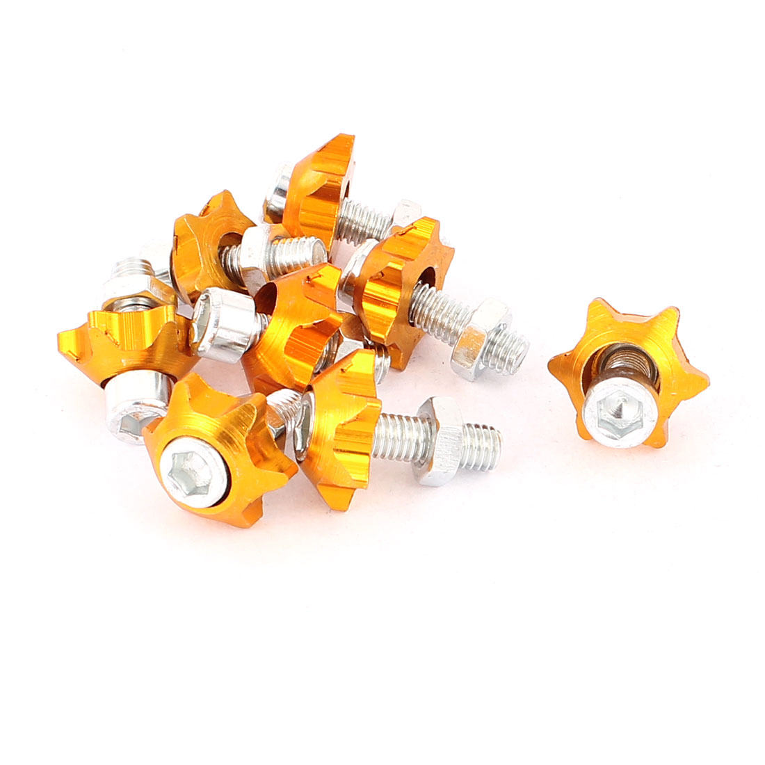 Car Motorcycle Hex Head License Plate Bolt Screws Gold Tone 8pcs