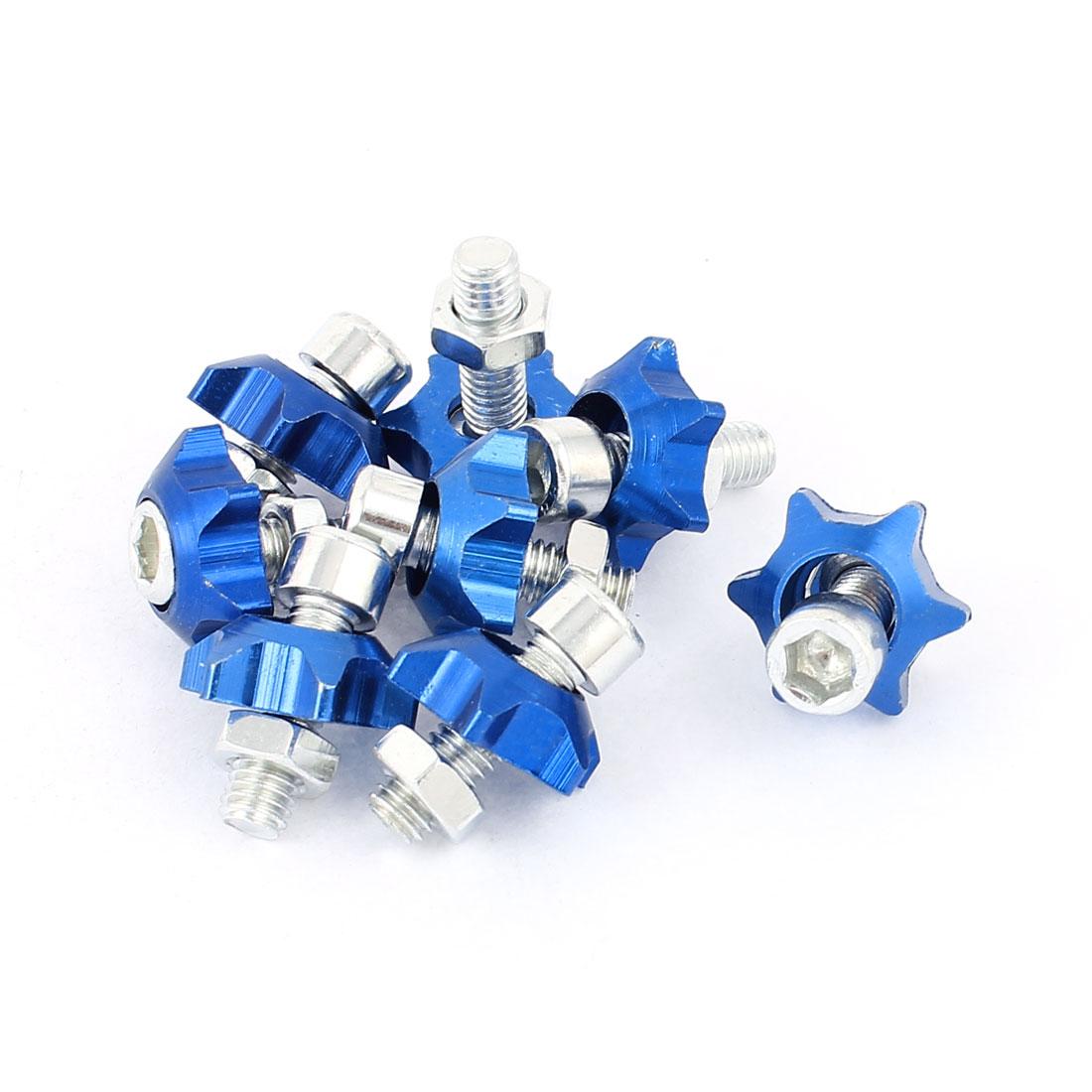 License Plate Star Shape Hex Bolt Screws Decoration Blue 8pcs