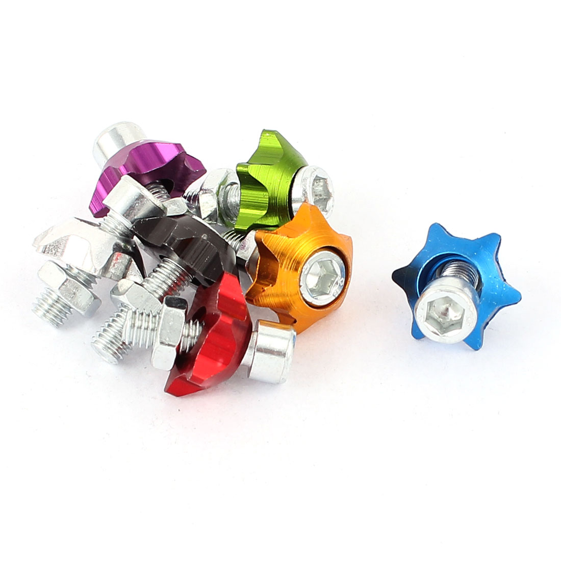 License Plate Star Shape Bolt Screw Fasteners Kit Assorted Color 7pcs