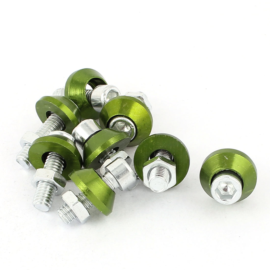 Car Motorcycle Aluminum Hex Head License Plate Bolts Screws Green 8pcs