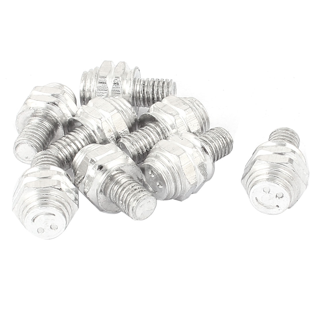 Car License Plate Bolt Screw Decoration Caps Silver Tone 8pcs