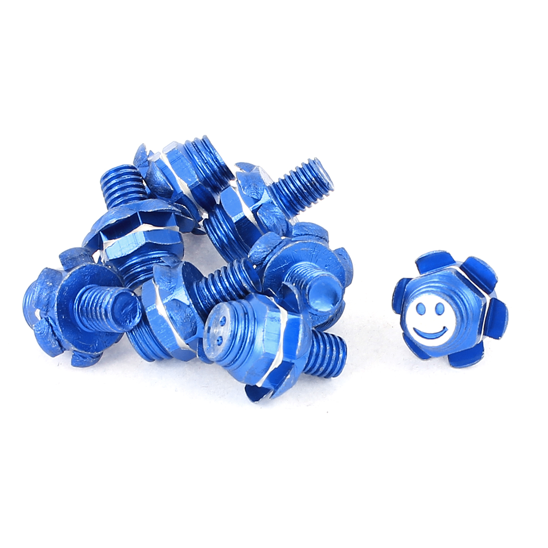 Auto Car Hexagon License Plate Frame Screw Bolts Caps Blue 8pcs