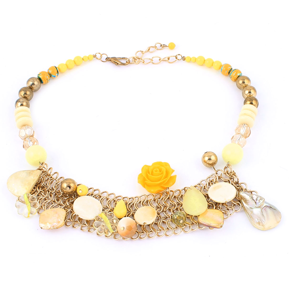 Woman Party Wedding Lobster Clasp Beads Flower Shell Decor Mesh Pendant Chunky Collar Chain Bib Necklace Neckwear Gold Tone