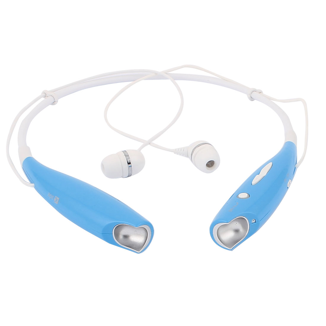 Sports Blue White Plastic Shell Neck Hanging Wireless bluetooth Headset Headphone Earphone w USB Charge Cable for Cell Phone
