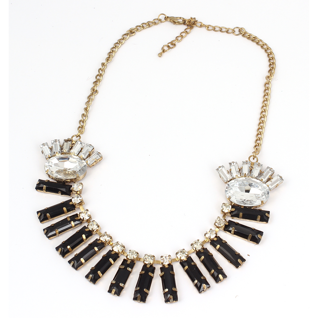 Lady Neckwear Lobster Clasp Black Rectangle Faceted Beads Clear Faux Crystal Pendant Chunky Collar Chain Bib Necklace Gold Tone