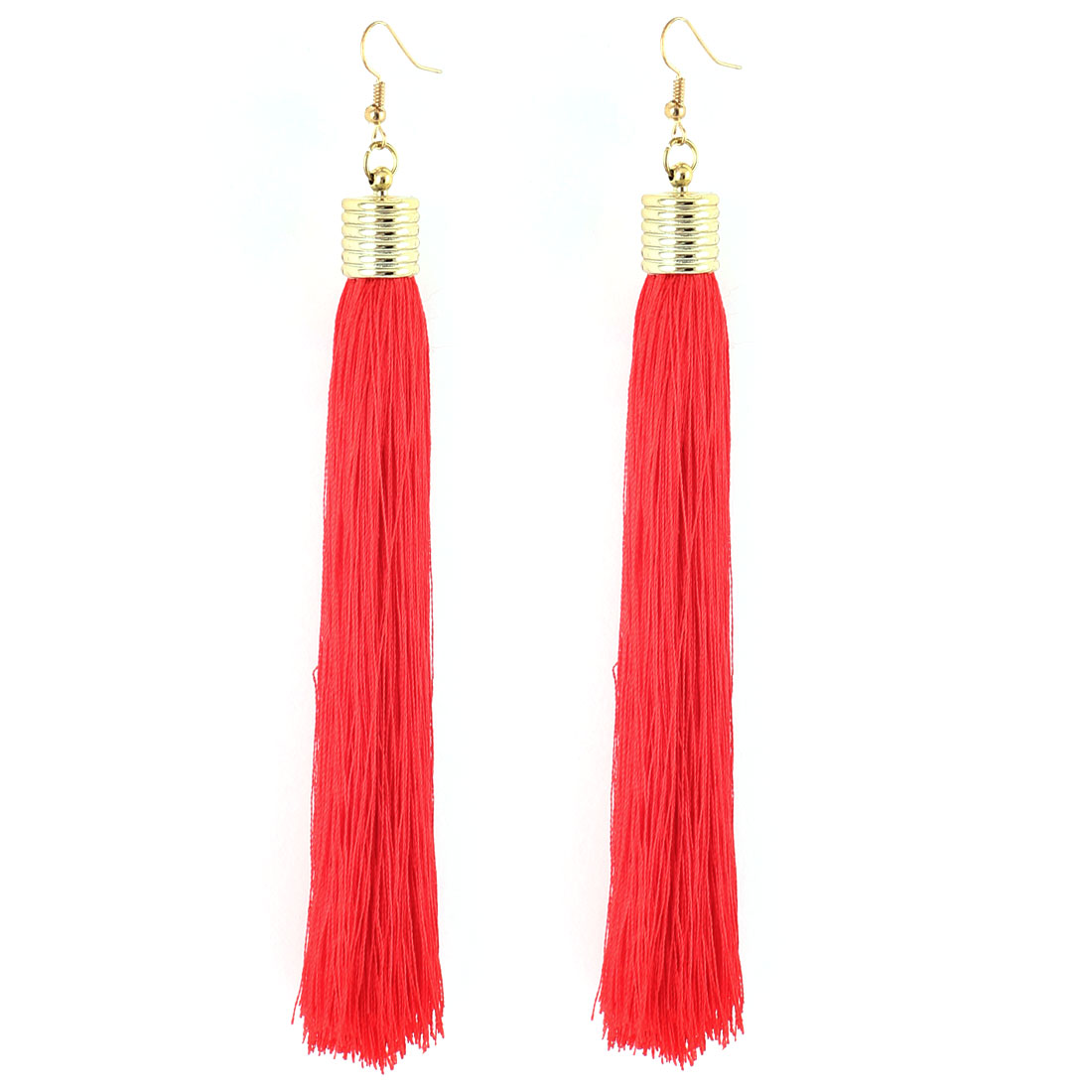 Pair Red Tassel Dangle Pendant Gold Tone Metal Ear Hooks Drops Earrings Eardrops for Lady