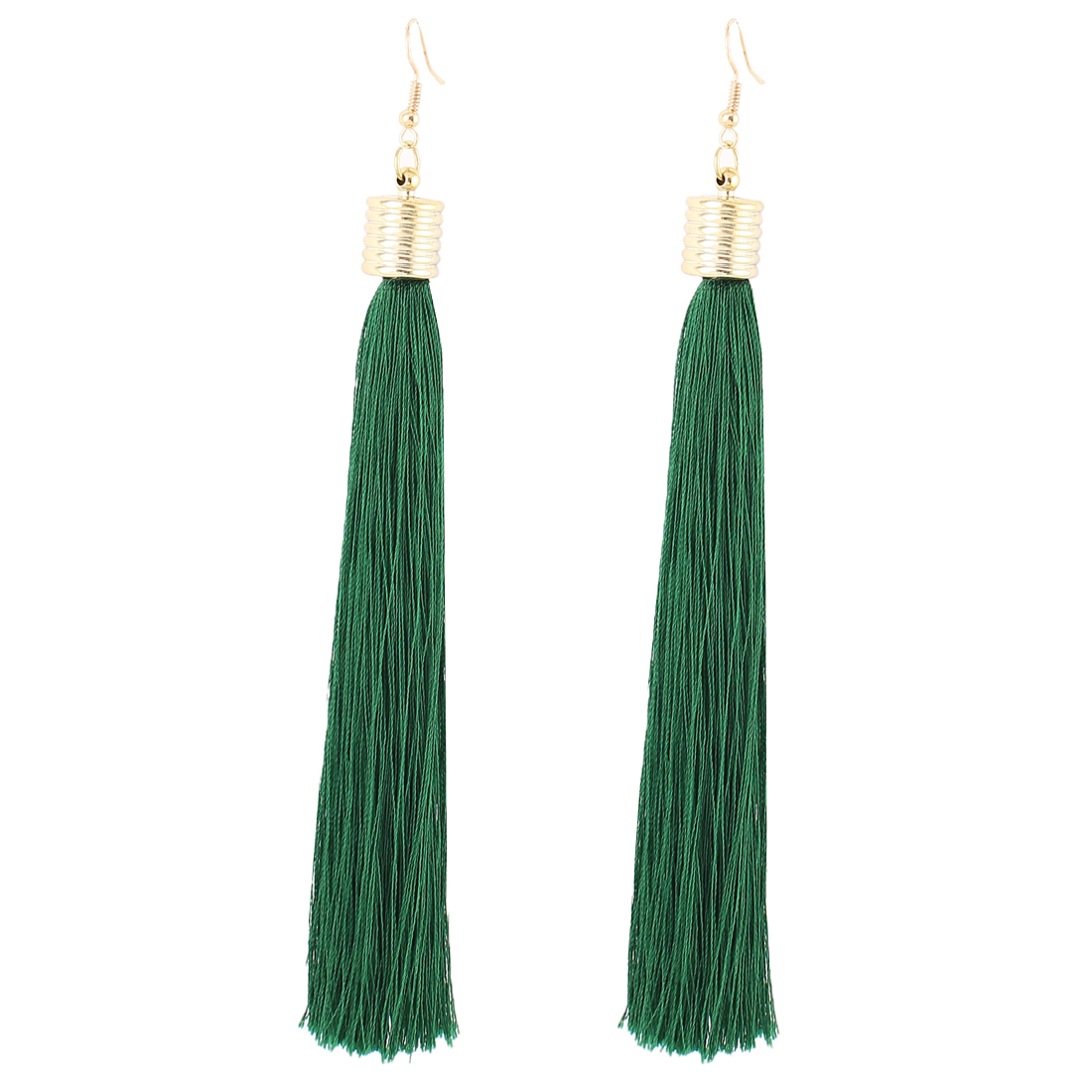 Pair Green Tassel Pendant Dangling Gold Tone Metal Ear Hooks Drops Earrings Eardrops for Woman