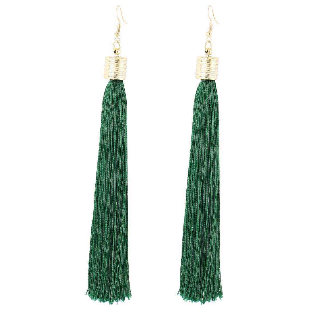 Pair Green Tassel Pendant Dangling Gold Tone Metal Ear Hooks Drops Earrings Eardrops for Woman