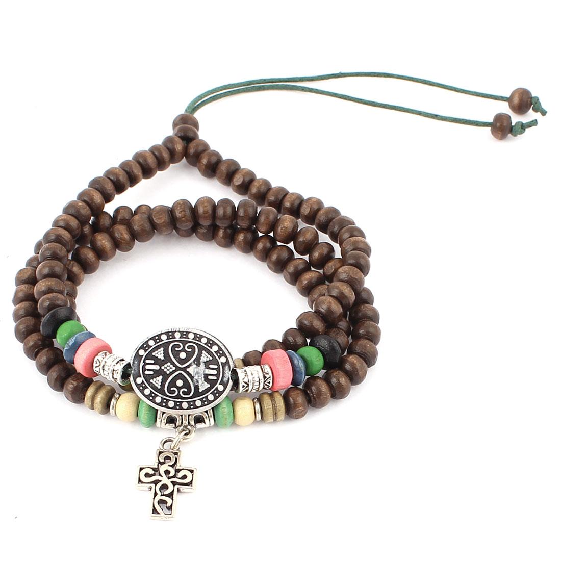 Brown Wood Beaded Nylon String Adjustable Charm Wrap Wrist Strap Bracelet Necklace