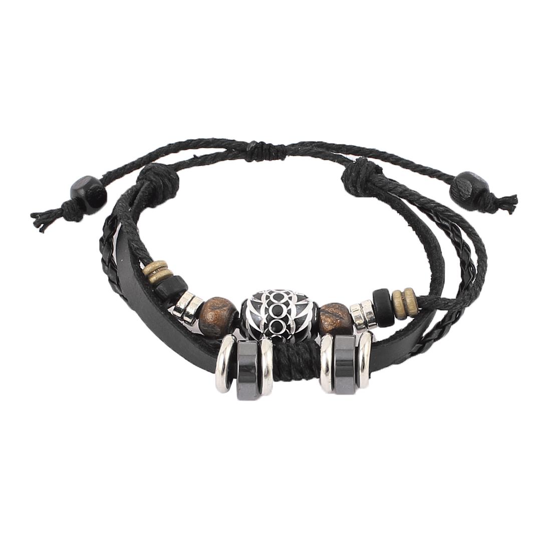 Punk Rocker Beads Pendant Faux Leather Band Wax Cord String Charm Wrap Wristband Bracelet Bangle
