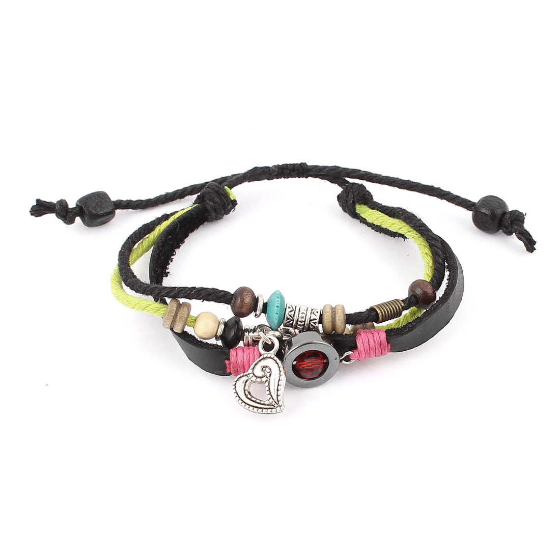 Punk Rocker Heart Pendant Black Faux Leather Band Wax Cord String Charm Wrap Wristband Bracelet Bangle