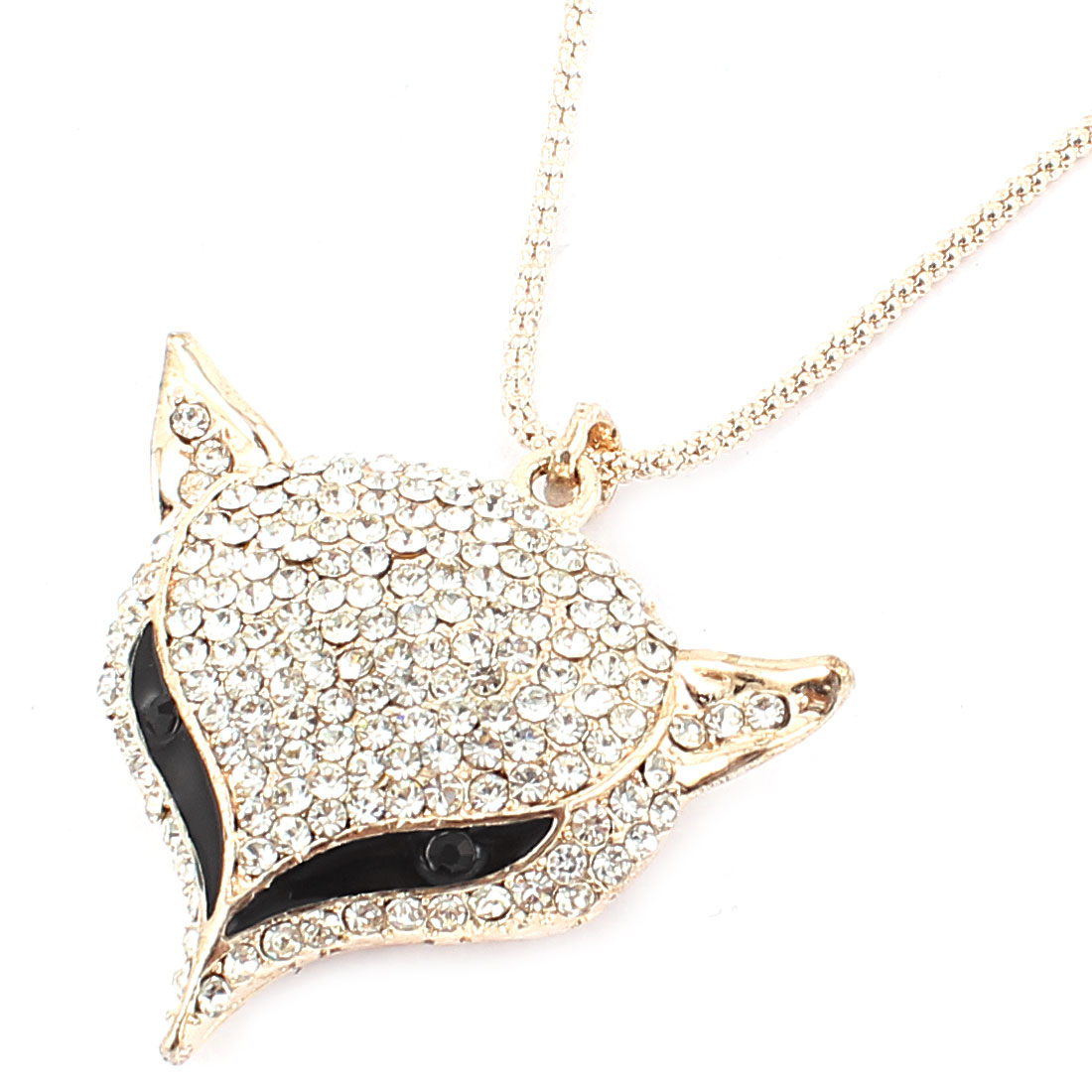 Lobster Buckle Clear Rhinestone Inlaid Fox Head Pendant Sweater Necklace Chain Neckwear Champagne Color for Women
