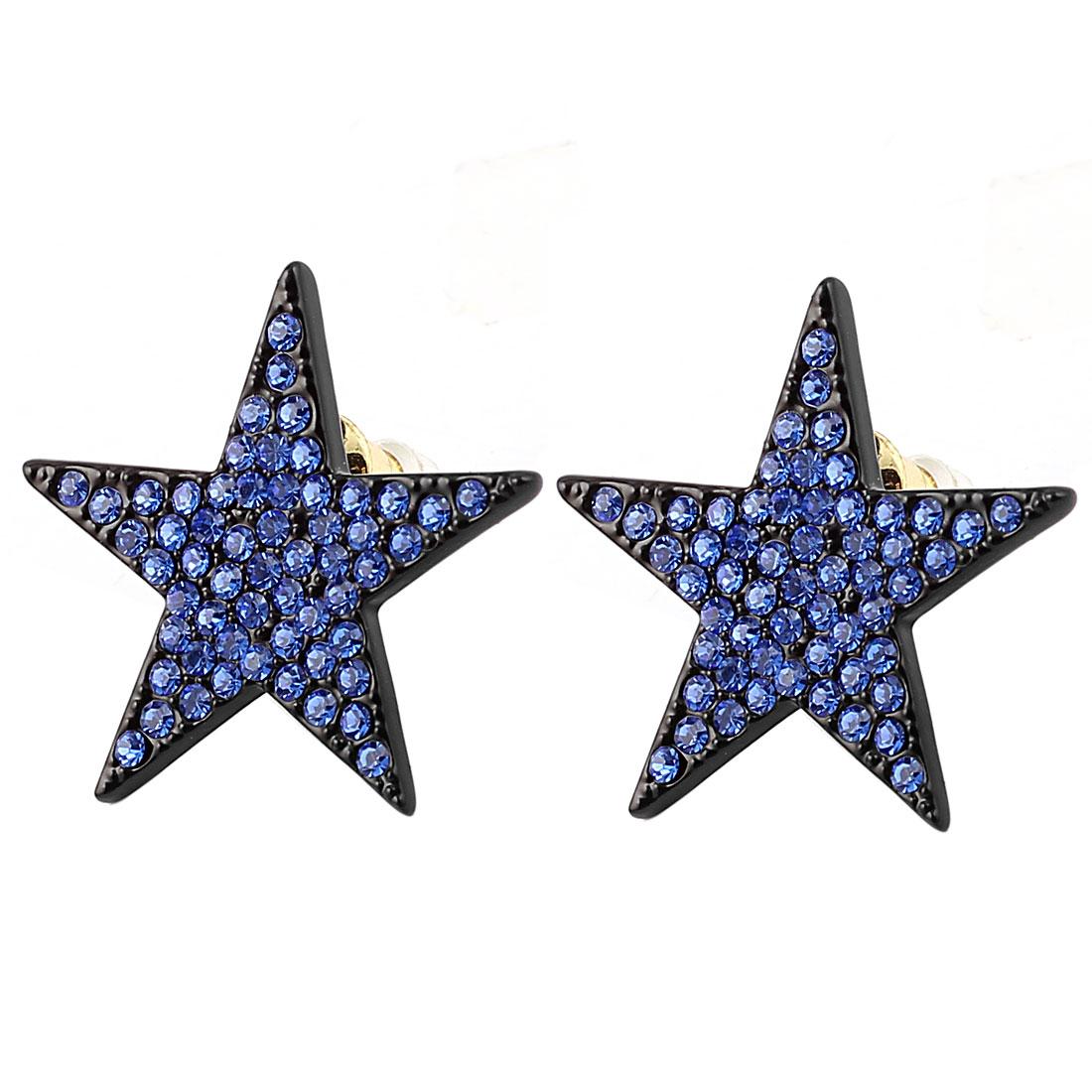 Lady Blue Rhinestone Inlaid Star Stud Earrings Ear Pin Nail Black Pair