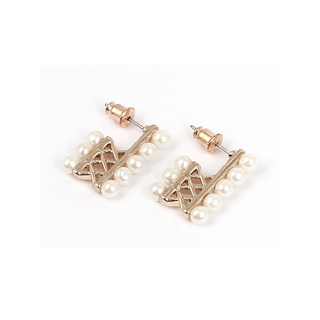 Women White Faux Pearl Inlaid Hollow Out Metal Stud Earrings Ear Pins Nails Gold Tone Pair