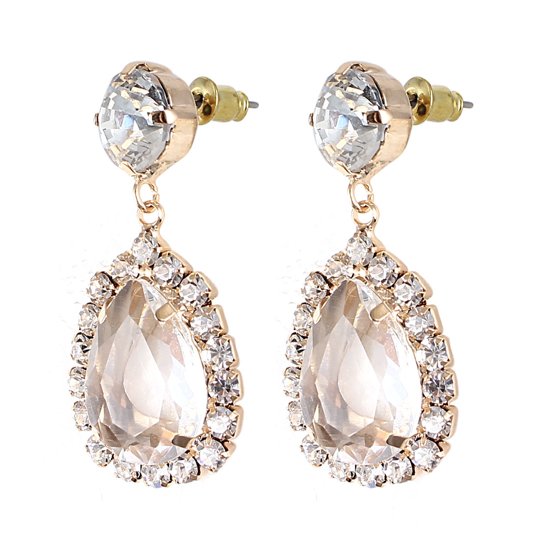 Women Waterdrop Clear Faceted Faux Crystal Inlaid Metal Stud Earrings Ear Pins Nails Gold Tone Pair