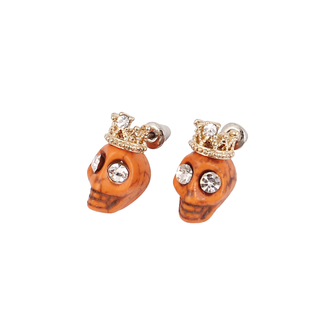 Pair Gold Tone Crown Orange Plastic Skull Shaped Stud Earrings Ear Nails Pins for Woman