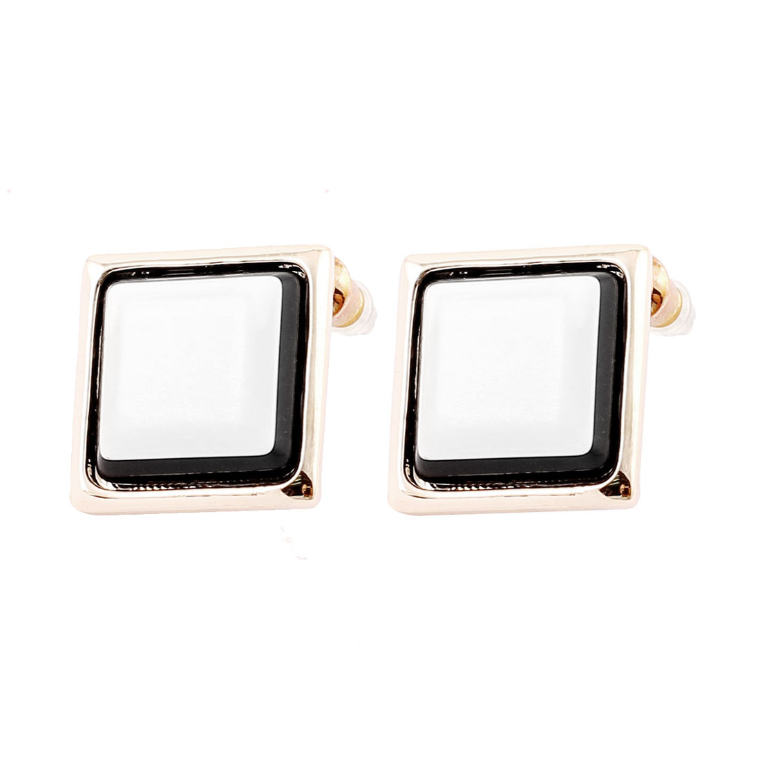 Lady Black White Ceramic Square Decor Metal Stud Earrings Ear Pins Nails Silver Tone Pair