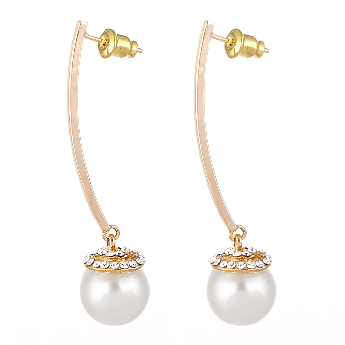 Pair White Imitation Pearl Dangle Clear Rhinestone Inlaid Metal Stud Earrings Eardrops Ear Nails Gold Tone for Women