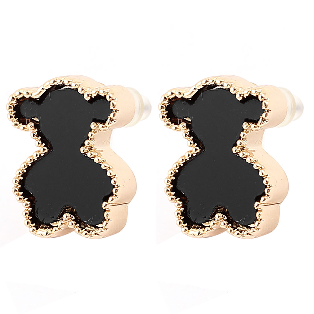 Lady Black Bear Shaped Brass Tone Stud Earrings Ear Pins Nails Earbobs Pair