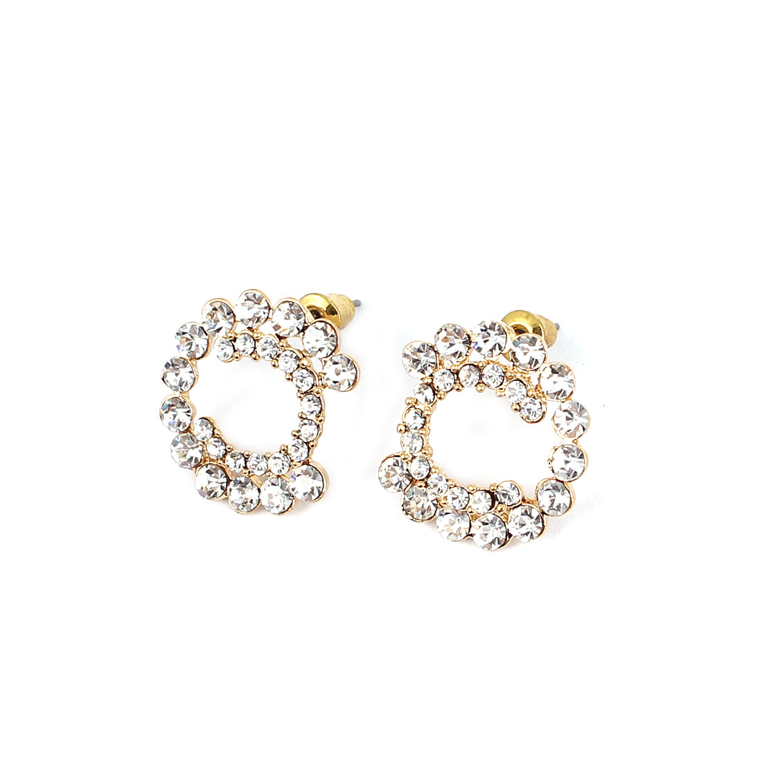 Woman Party Fashion Clear Rhinestone Inlaid Gold Tone Ring Circle Stud Earrings Ear Pins Nails Jewelry Pair