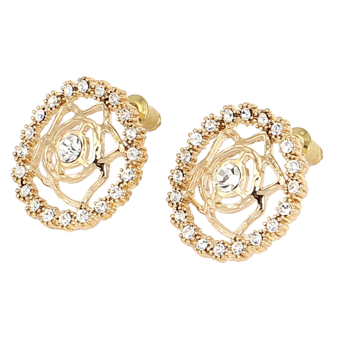 Woman Party Fashion Clear Rhinestone Inlaid Gold Tone Flower Stud Earrings Ear Pins Nails Jewelry Pair