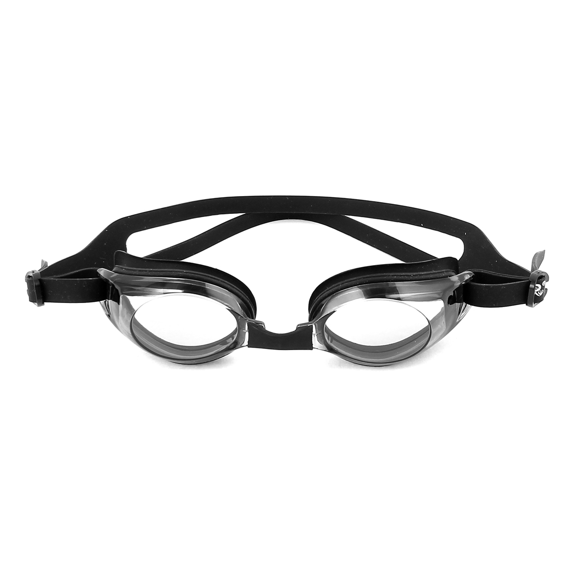 Child Adjustable Strap Oval Shaped Plastic Swimming Goggles Black