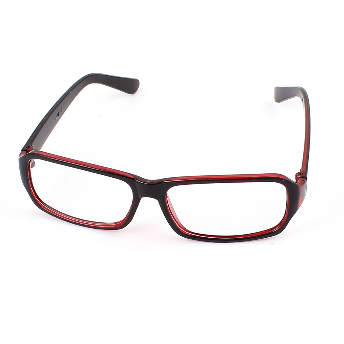 Dark Red Plastic Rectangular Frame Plain Glasses Spectacles