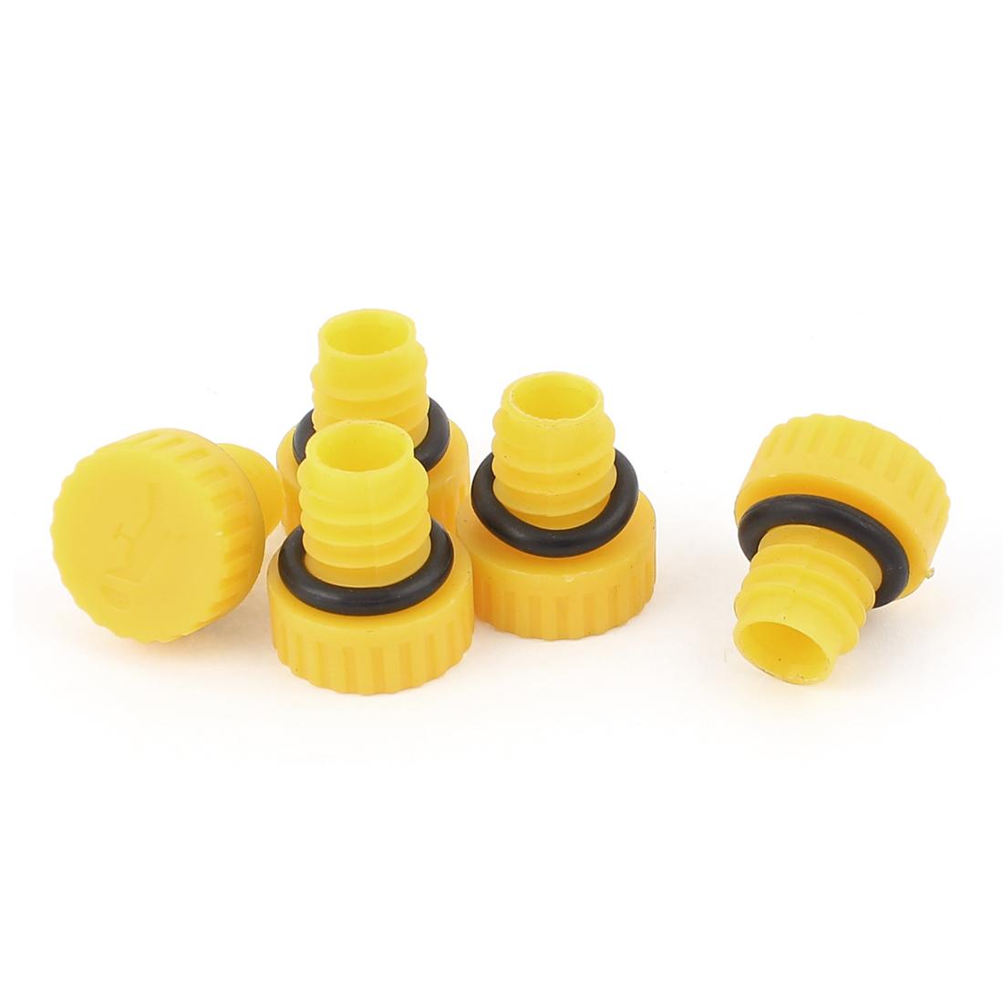 "Air Compressor Rubber Gasket Oil 0.4"" Thread Diameter Yellow Black 5 Pcs"